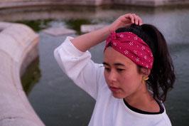 Hairband Bunga Titik in ruby