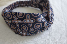 Hairband Bunga ceplok grompol in black/beige