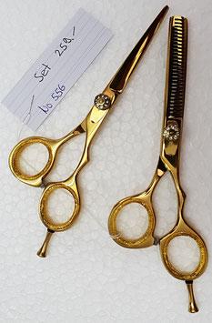 """556 Haarscheren Set gold 5.5"""" + Effilier"""