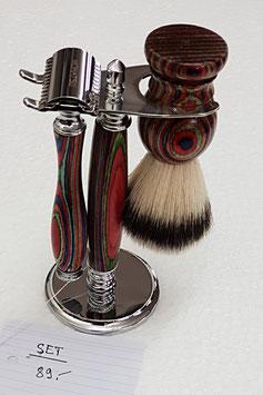 Rasier Set mit Pinsel und Halter, Mulitcolor Holz