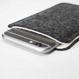Handyhülle, aus 100% Wollfilz (Merinowolle), zweifarbig grau melliert, weiß