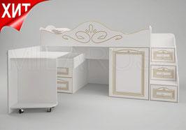 Кровать чердак c рабочей зоной Ромео малый RM-03 правый