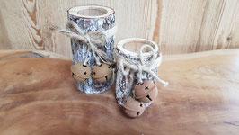 2er Set Teelichter Baumstamm mit Rinde und Glöckchen