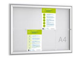 Schaukasten mit Profil in modernem Design. Abgestimmt auf DIN A4 Aushänge, für den Einsatz im Innen- und Außenbereich geeignet.