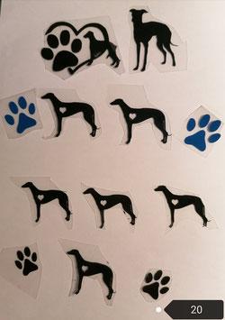 """Bügelbilder Set Nr. 20 """"Greyhound  """""""