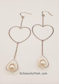 Perlenohrhänger Herzen