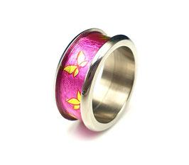 Titanring Schokofolie Schmetterling Pink