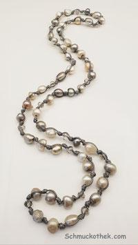 Perlensolo Elfenbein Halskette