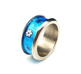 Titanring Schokofolie Blumen Blau