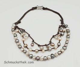 Perlentrio Halskette
