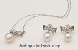 Silberset Kristallschleife