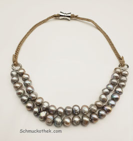 Perlenduett Silbergrau Halskette