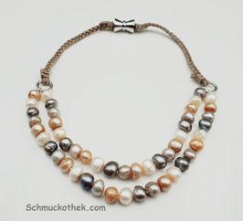 Perlenduett Elfenbein Halskette