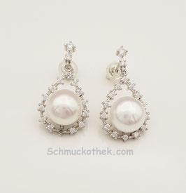 Perlenohrringe mit Kristallen