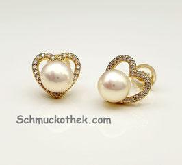 Perlenherzen Ohrstecker