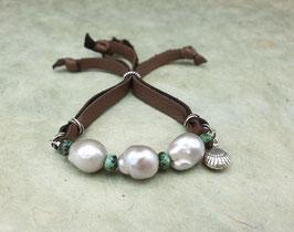 Leder Armband Barockperlen Silbergrau