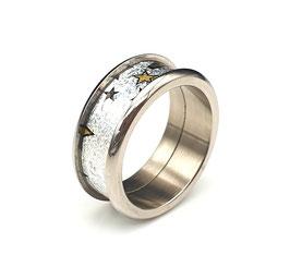 Titanring Schokofolie Sterne Silber