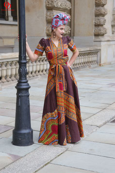 Dashiki Print Maxi Wrap Dress