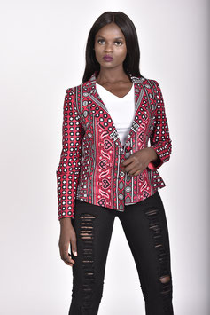 Red Printed Lesso/Khanga Tailored Blazer