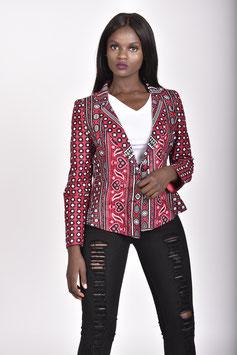 Red Printed Lesso/Khanga Tailored Blazer