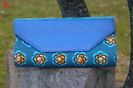 Handmade African Print Clutch Bag with a blue faux leather flap.