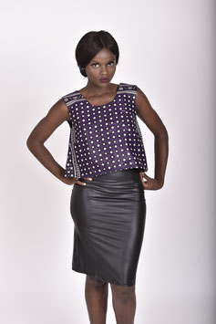 High Low Khanga/Lesso Crop Top