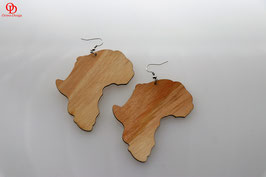 African Shaped Wooden Earrings