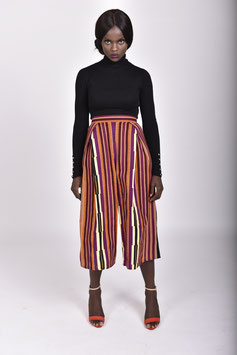 Striped African Print Culottes
