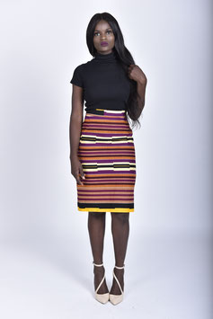 Striped African Print Pencil skirt