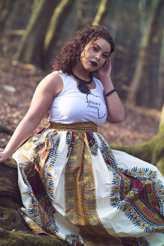 Dashiki Maxi Skirt White