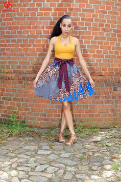 Grey Printed Ankara Skater Skirt
