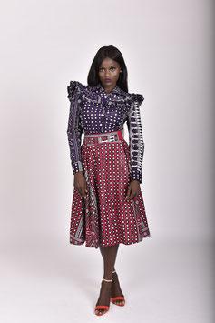 Red Printed Khanga/Lesso Midi Skirt
