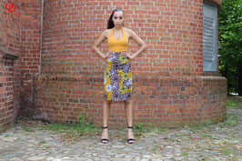 Yellow/Mustard African print pencil skirt with full back zipper