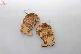 Turban Head Wooden Earrings