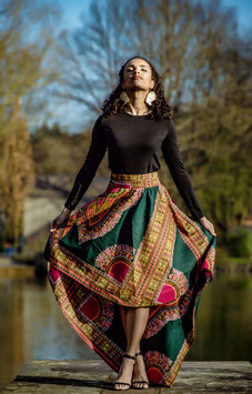 High Low Dashiki Skirt