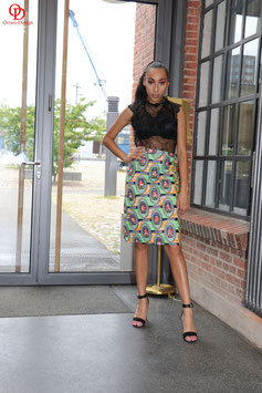 Green African print pencil skirt with full back zipper