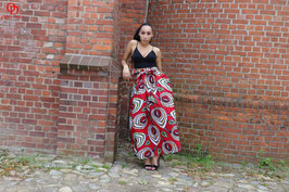 Red Printed Ankara Maxi skirt