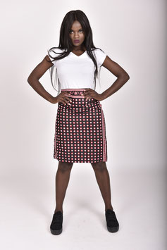 Black & Red Printed Khanga/Lesso Pencil Skirt