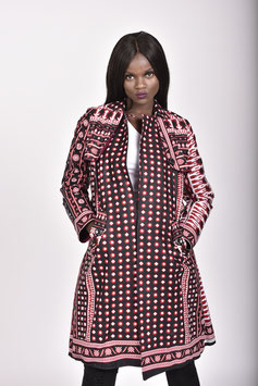 Black & Red Printed Khanga/Lesso Trench Coat