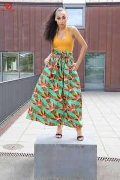 Green Ankara Maxi skirt with Orange Print