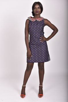 Purple Printed Lesso/Khanga Shift Dress with Red Printed Collar