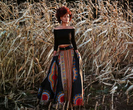 Black Dashiki/Angelina Maxi skirt