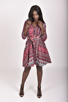 Red Printed Khanga/Lesso Shirtdress