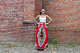 Red Dashiki Maxi skirt