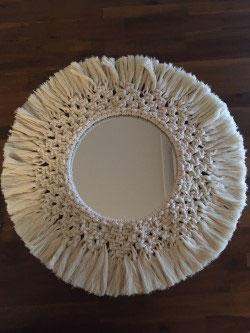 Miroir rond en macramé réf : MR01