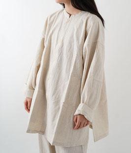 ヂェン先生の開襟シャツ厚手 生成 粗織 Mサイズ