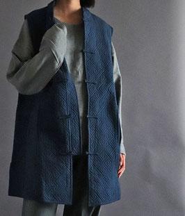 ヂェン先生の綿入れチャイナベスト 藍