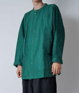 ヂェン先生の開襟シャツ厚手 緑 粗織 Lサイズ(丈短め)