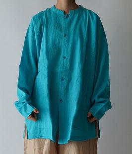 ヂェン先生の開襟シャツ長袖薄地 天色 Mサイズ