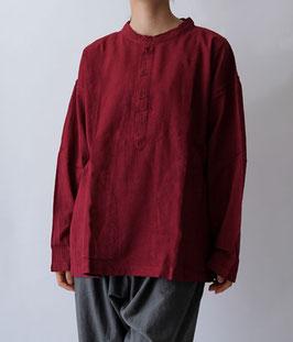ヂェン先生のヘンリーシャツ長袖薄地 暗赤 S